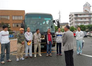 災害ボランティアバス出発の様子